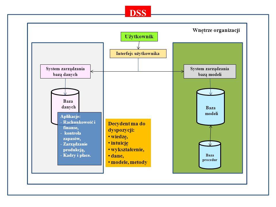 DSS Otoczenie gospodarcze Wnętrze organizacji Użytkownik