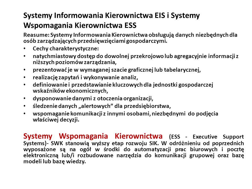 Systemy Informowania Kierownictwa EIS i Systemy Wspomagania Kierownictwa ESS