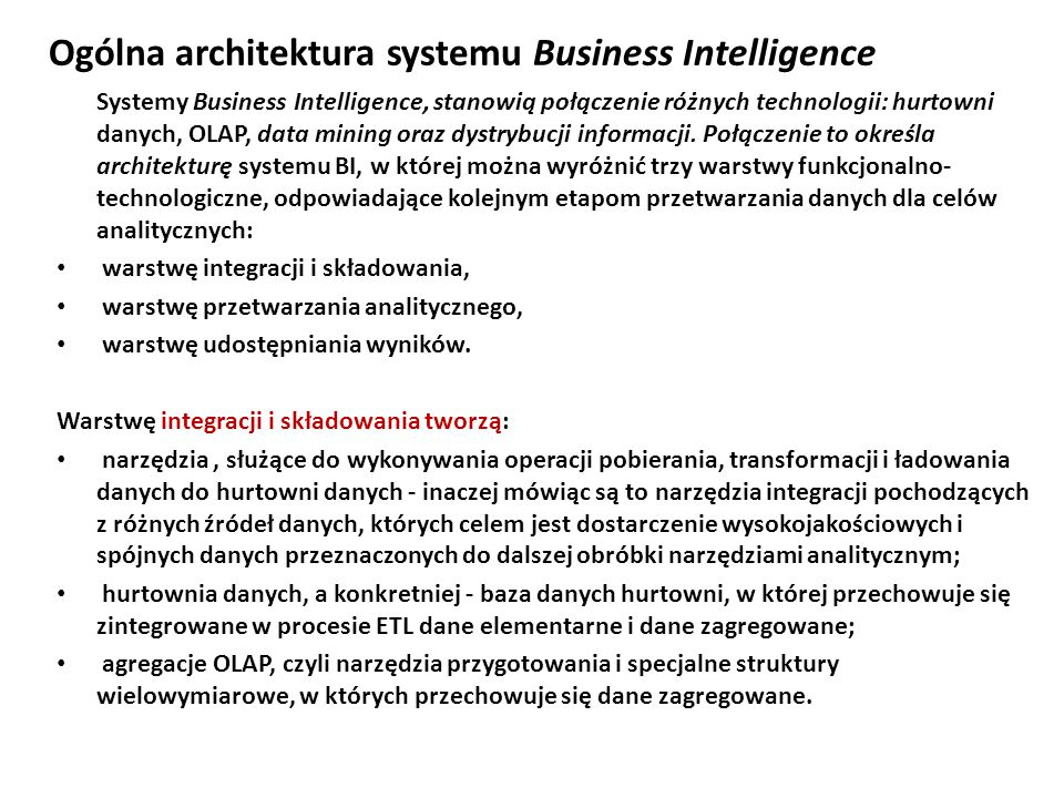 Ogólna architektura systemu Business Intelligence