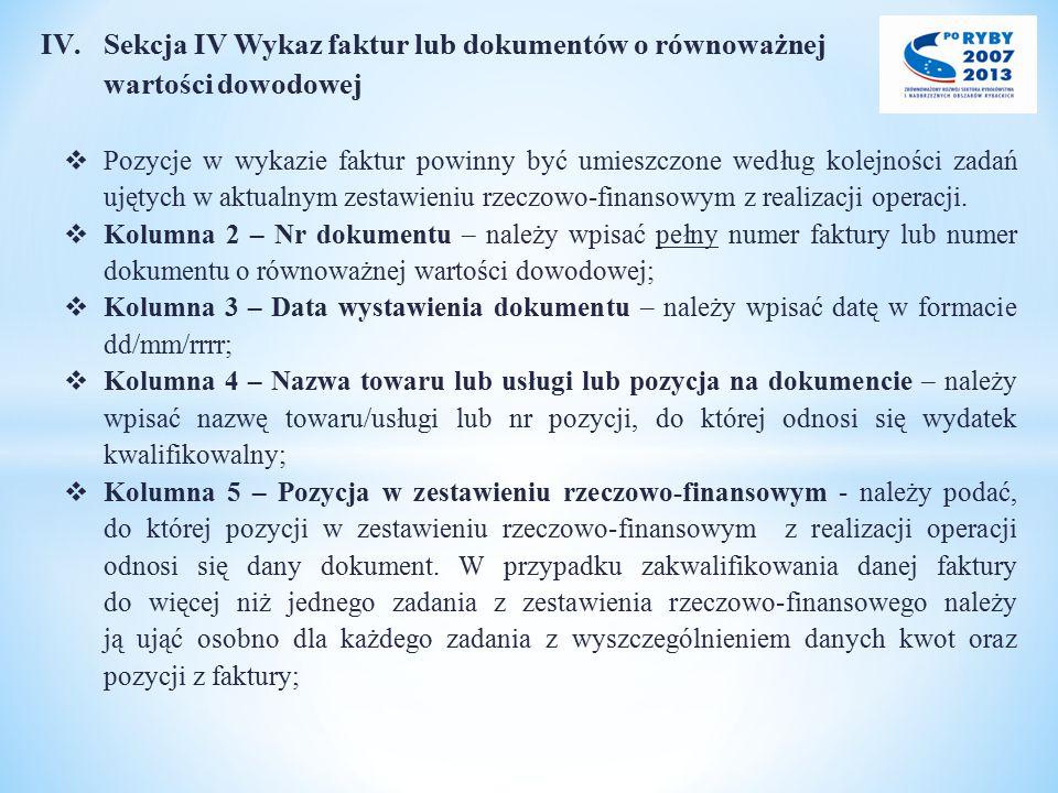Sekcja IV Wykaz faktur lub dokumentów o równoważnej wartości dowodowej