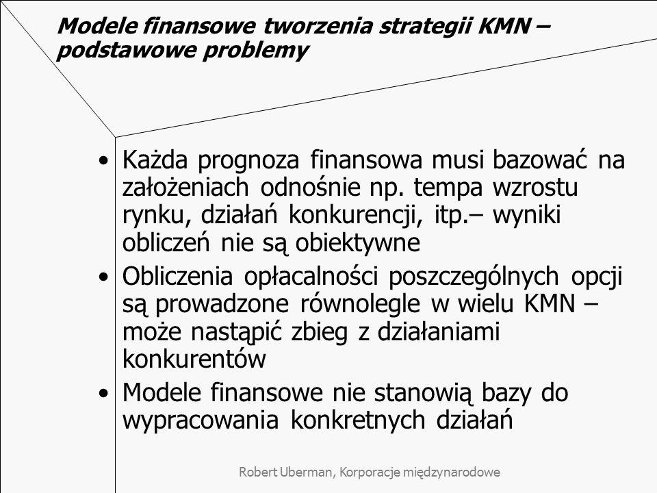 Modele finansowe tworzenia strategii KMN – podstawowe problemy