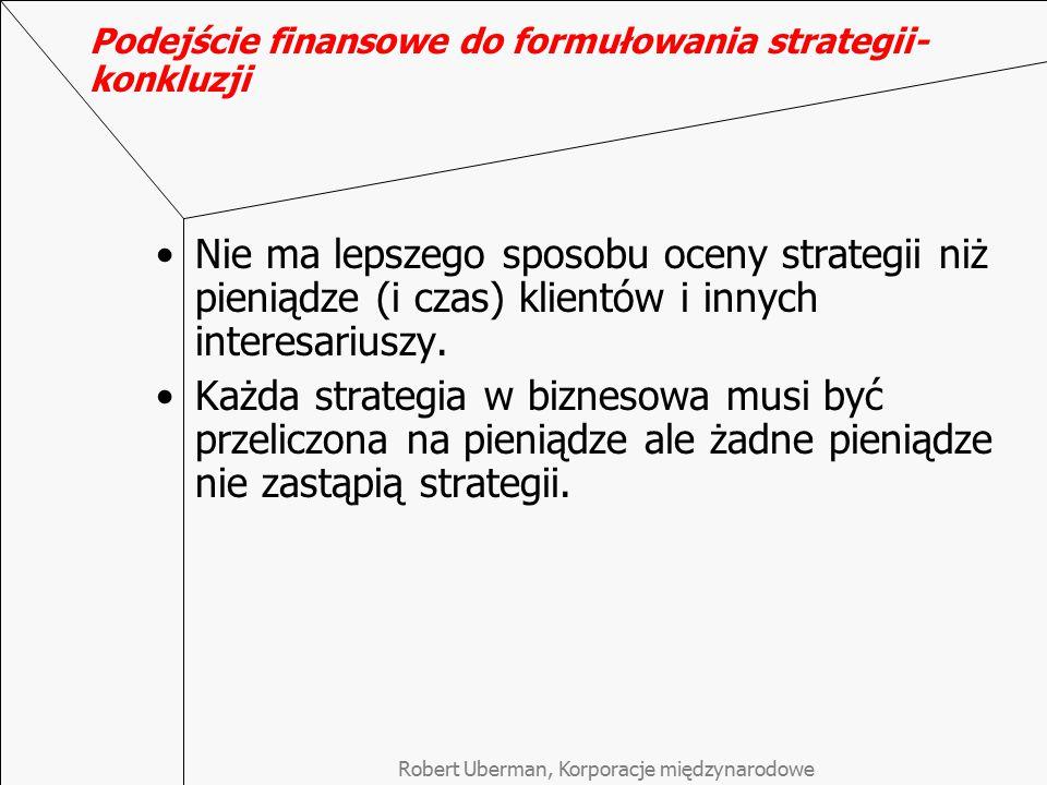 Podejście finansowe do formułowania strategii- konkluzji