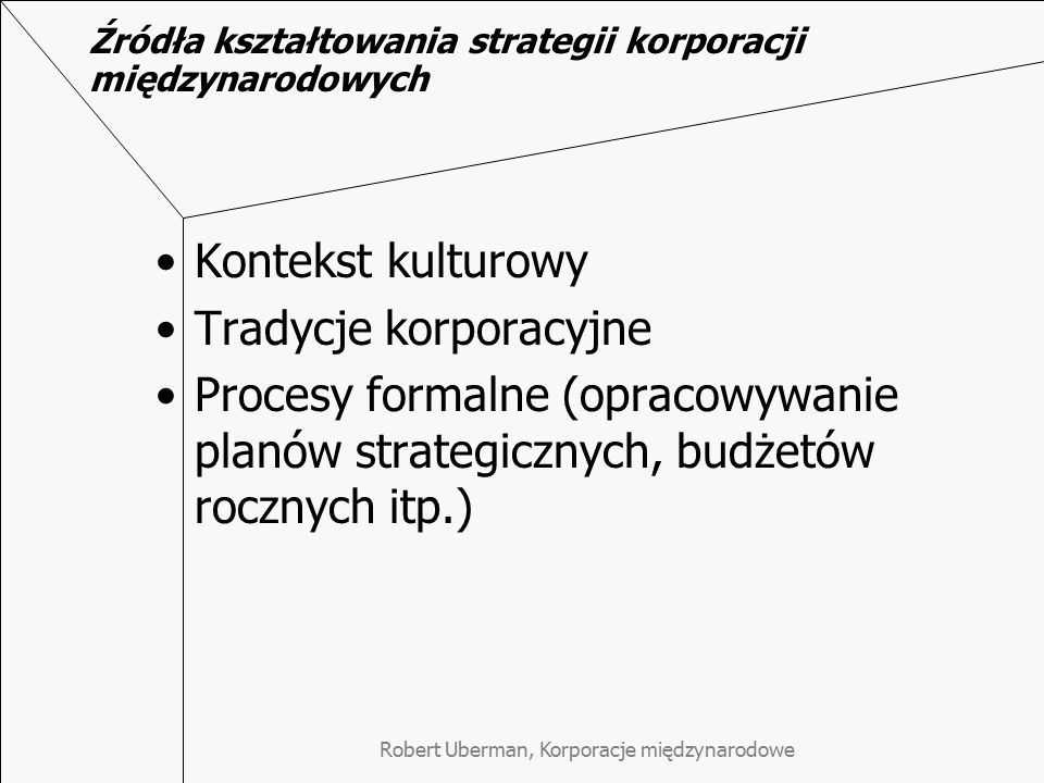 Źródła kształtowania strategii korporacji międzynarodowych