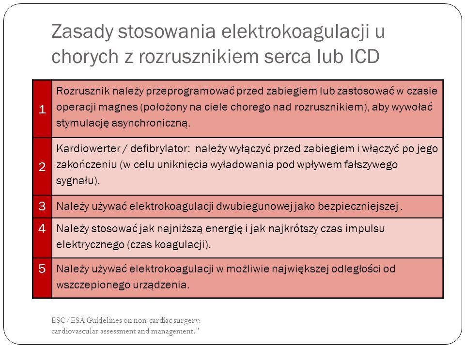 Zasady stosowania elektrokoagulacji u chorych z rozrusznikiem serca lub ICD