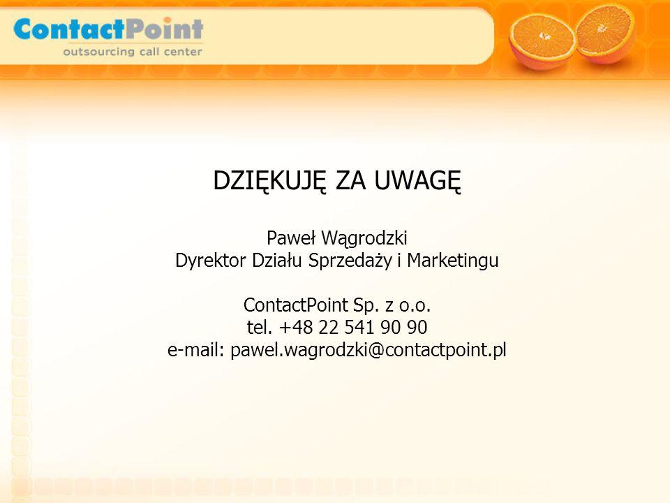 DZIĘKUJĘ ZA UWAGĘ Paweł Wągrodzki Dyrektor Działu Sprzedaży i Marketingu ContactPoint Sp.