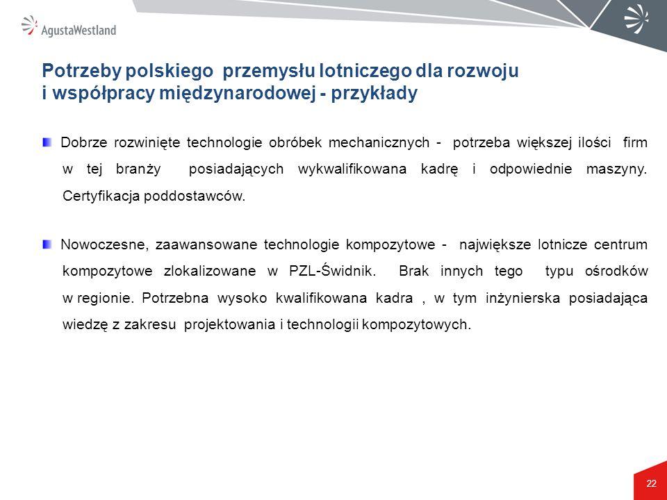 Potrzeby polskiego przemysłu lotniczego dla rozwoju i współpracy międzynarodowej - przykłady