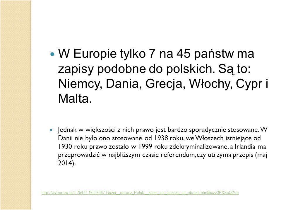 W Europie tylko 7 na 45 państw ma zapisy podobne do polskich