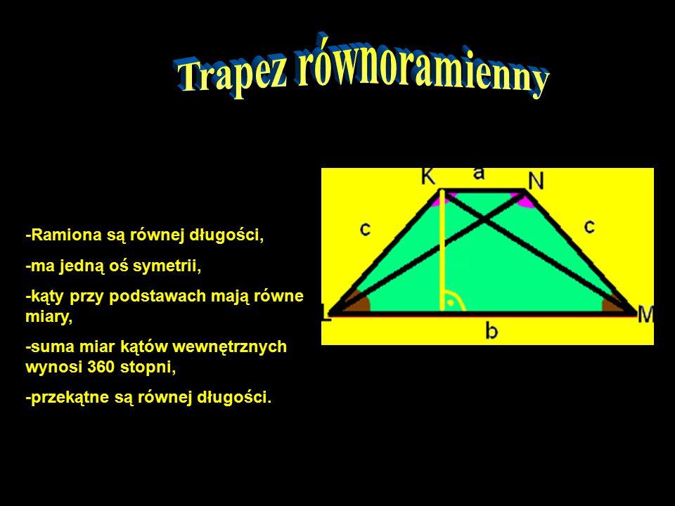 Trapez równoramienny -Ramiona są równej długości,