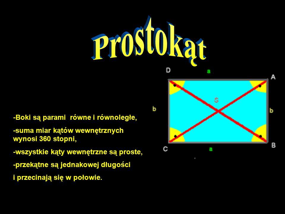 Prostokąt -Boki są parami równe i równoległe,