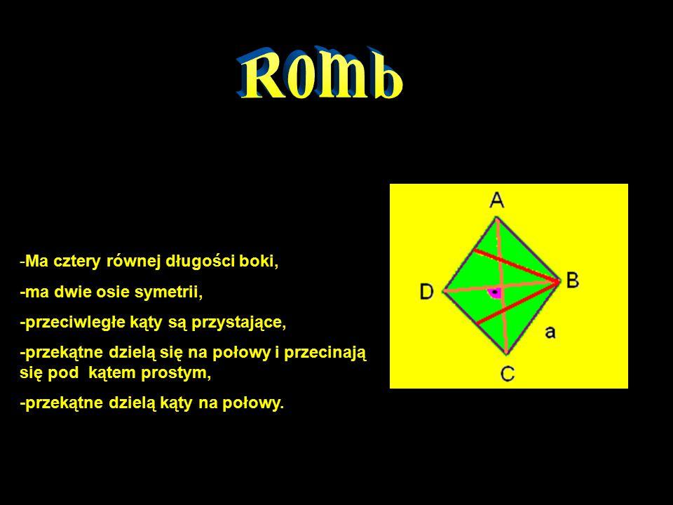 Romb -Ma cztery równej długości boki, -ma dwie osie symetrii,