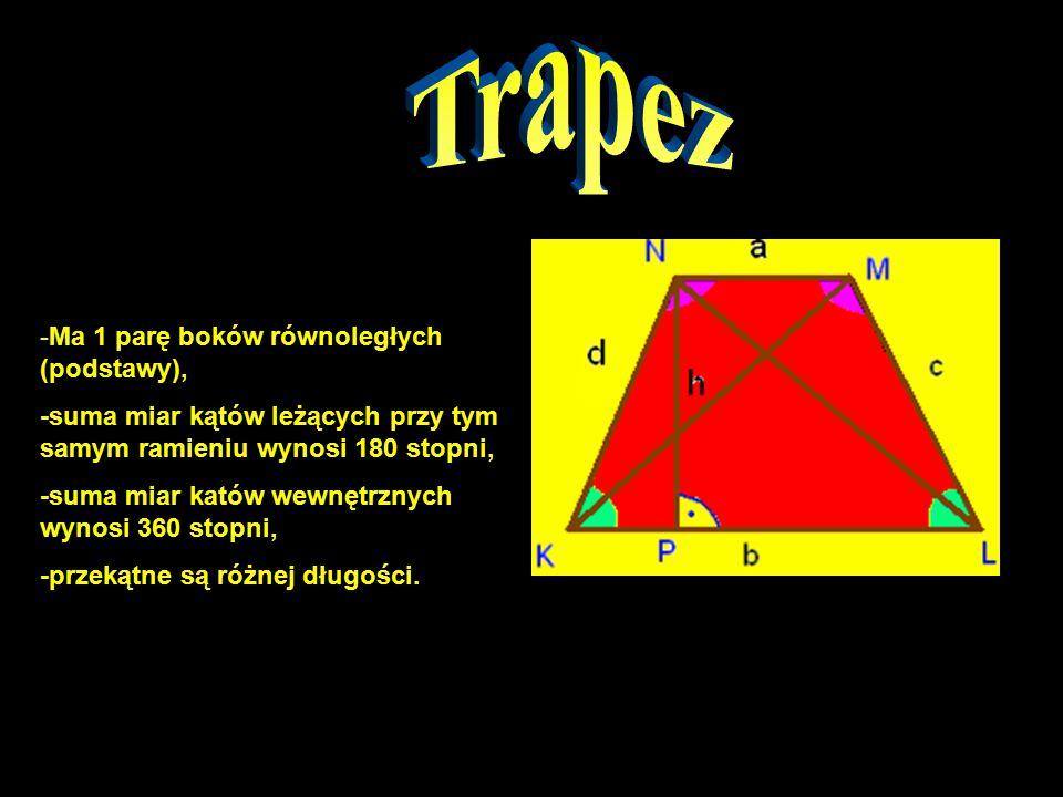 Trapez -Ma 1 parę boków równoległych (podstawy),