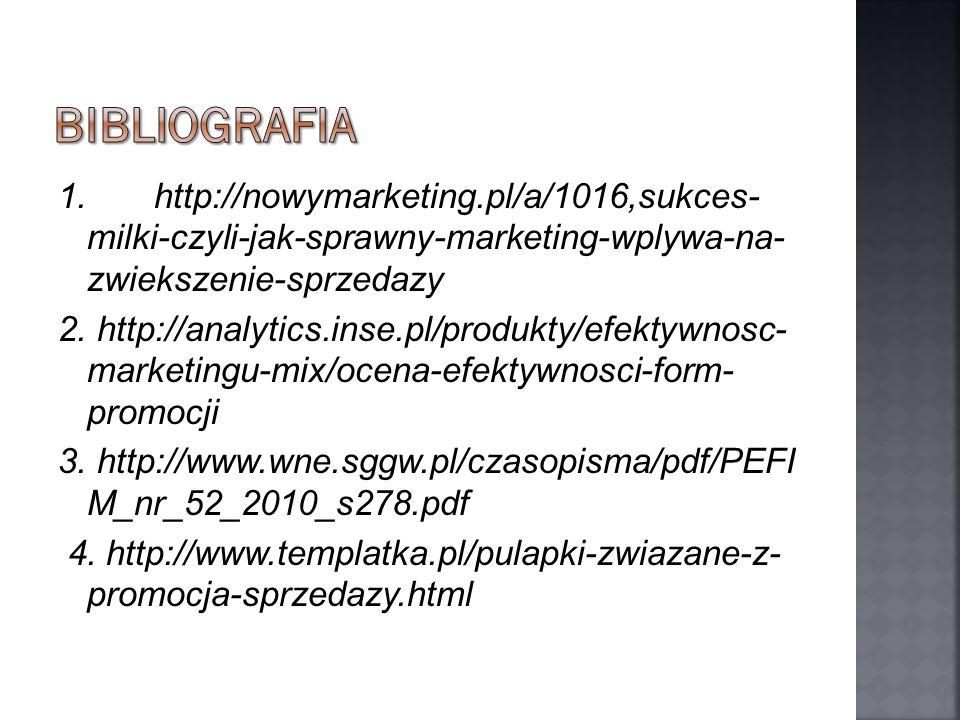 BIBLIOGRAFIA 1. http://nowymarketing.pl/a/1016,sukces- milki-czyli-jak-sprawny-marketing-wplywa-na- zwiekszenie-sprzedazy.