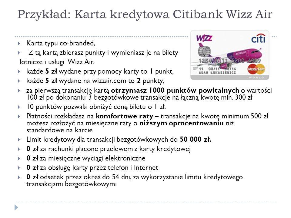 Przykład: Karta kredytowa Citibank Wizz Air
