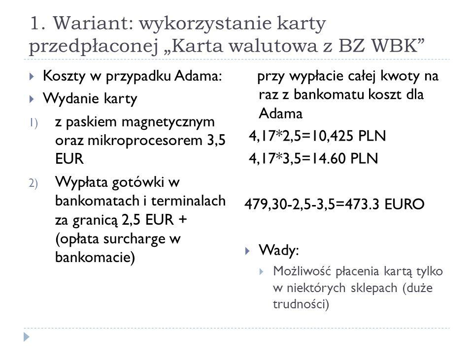 """1. Wariant: wykorzystanie karty przedpłaconej """"Karta walutowa z BZ WBK"""