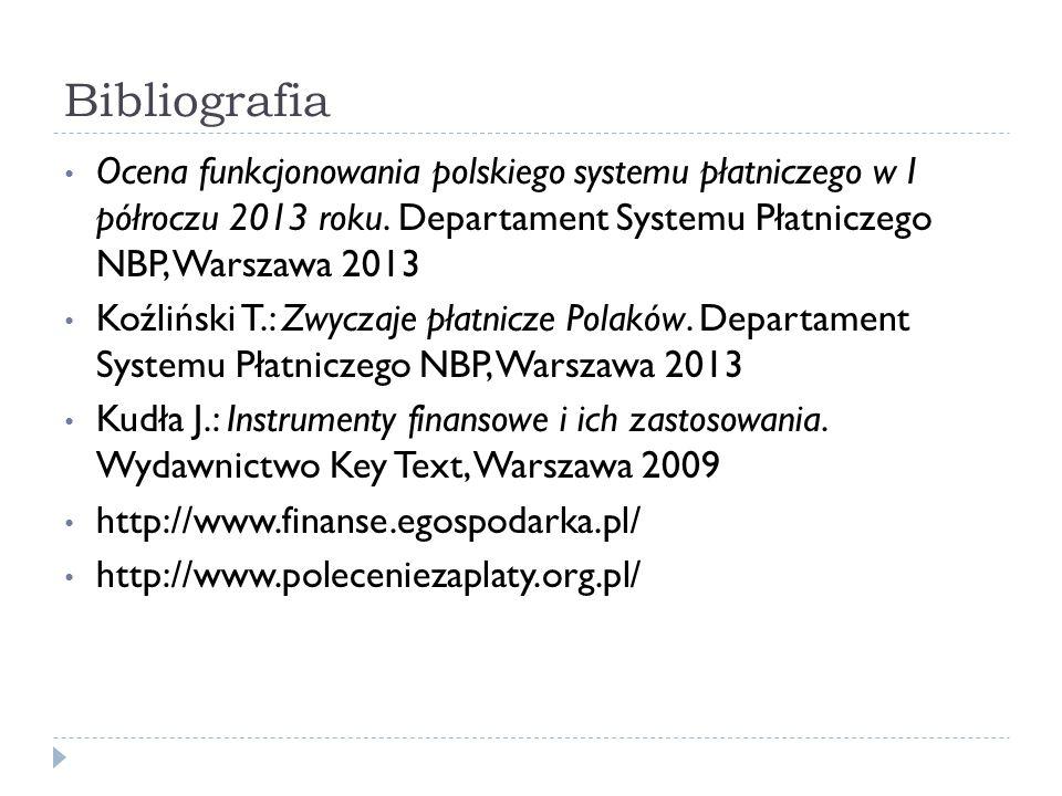 Bibliografia Ocena funkcjonowania polskiego systemu płatniczego w I półroczu 2013 roku. Departament Systemu Płatniczego NBP, Warszawa 2013.