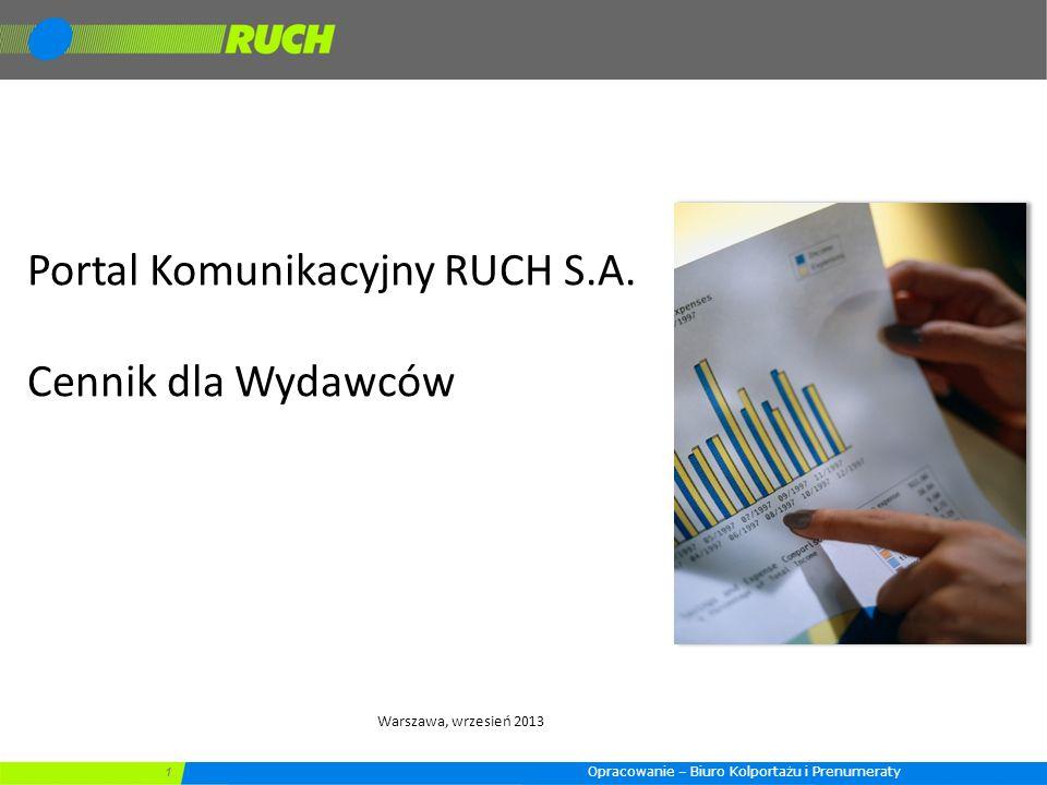 Portal Komunikacyjny RUCH S.A. Cennik dla Wydawców