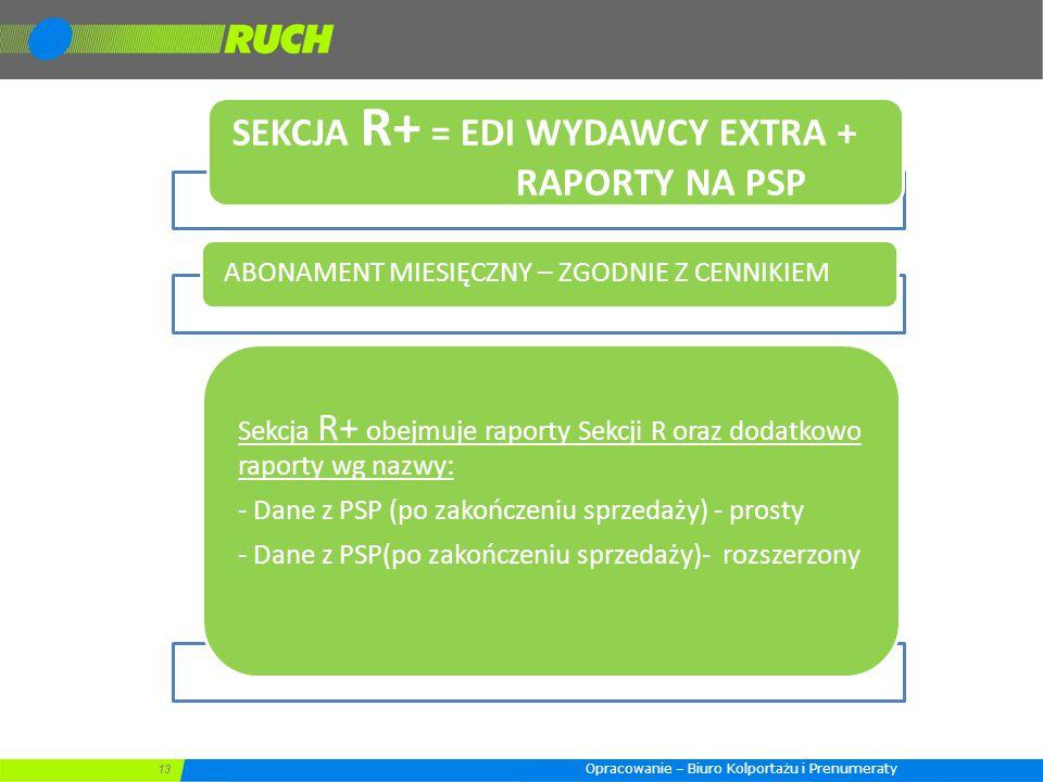 SEKCJA R+ = EDI WYDAWCY EXTRA + RAPORTY NA PSP