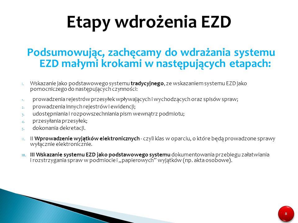 Etapy wdrożenia EZD Podsumowując, zachęcamy do wdrażania systemu EZD małymi krokami w następujących etapach: