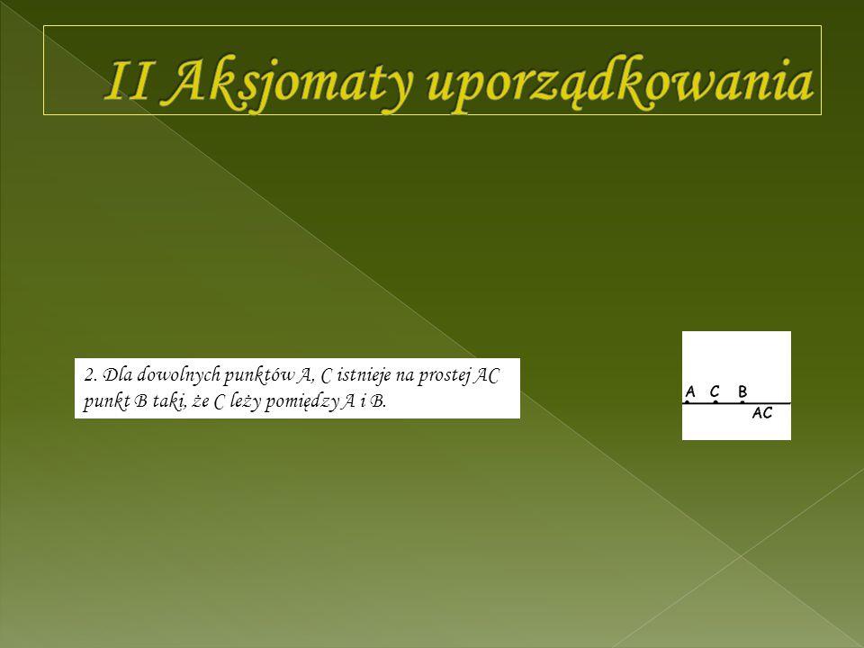 II Aksjomaty uporządkowania
