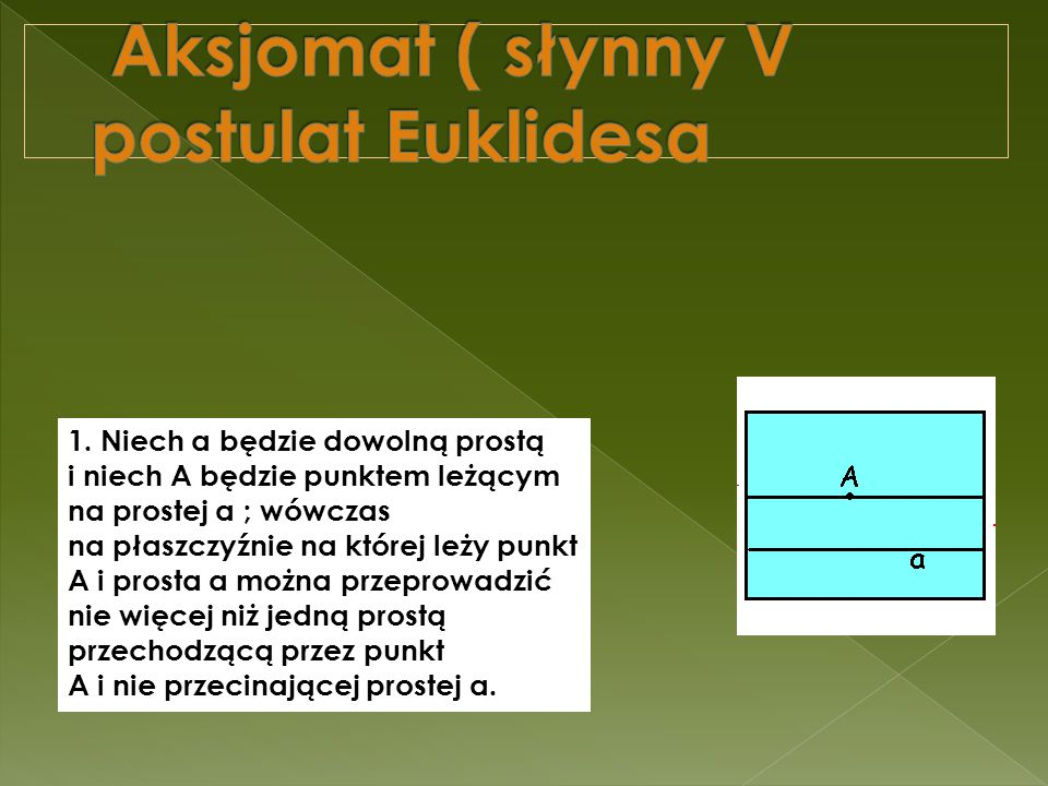 Aksjomat ( słynny V postulat Euklidesa