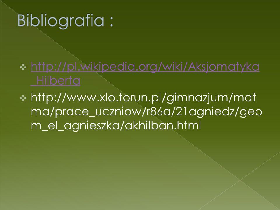 Bibliografia : http://pl.wikipedia.org/wiki/Aksjomatyka_Hilberta