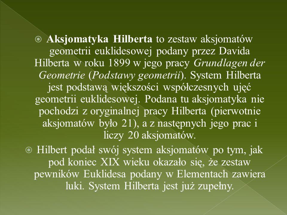 Aksjomatyka Hilberta to zestaw aksjomatów geometrii euklidesowej podany przez Davida Hilberta w roku 1899 w jego pracy Grundlagen der Geometrie (Podstawy geometrii). System Hilberta jest podstawą większości współczesnych ujęć geometrii euklidesowej. Podana tu aksjomatyka nie pochodzi z oryginalnej pracy Hilberta (pierwotnie aksjomatów było 21), a z następnych jego prac i liczy 20 aksjomatów.