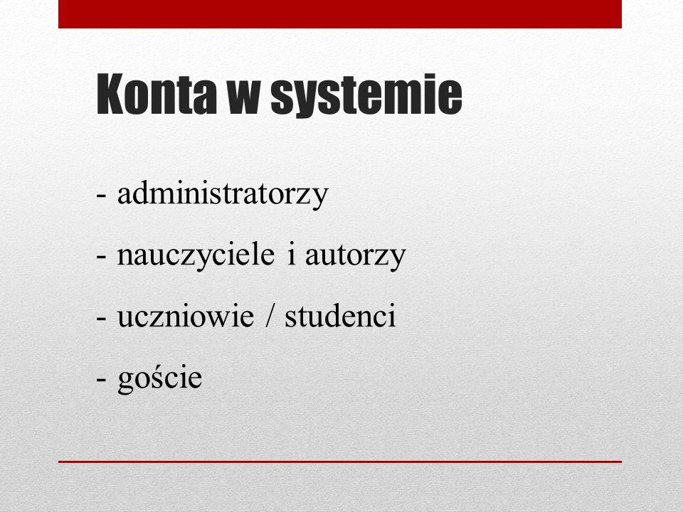 Konta w systemie administratorzy nauczyciele i autorzy