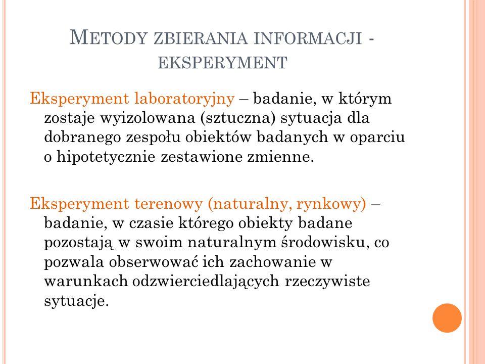 Metody zbierania informacji - eksperyment
