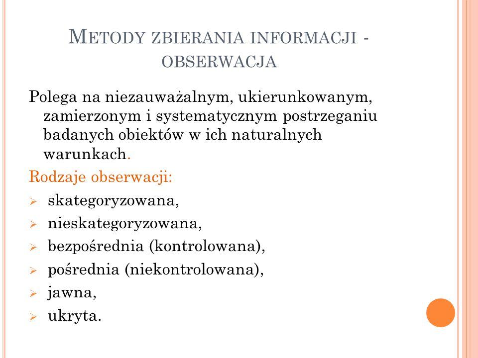 Metody zbierania informacji - obserwacja