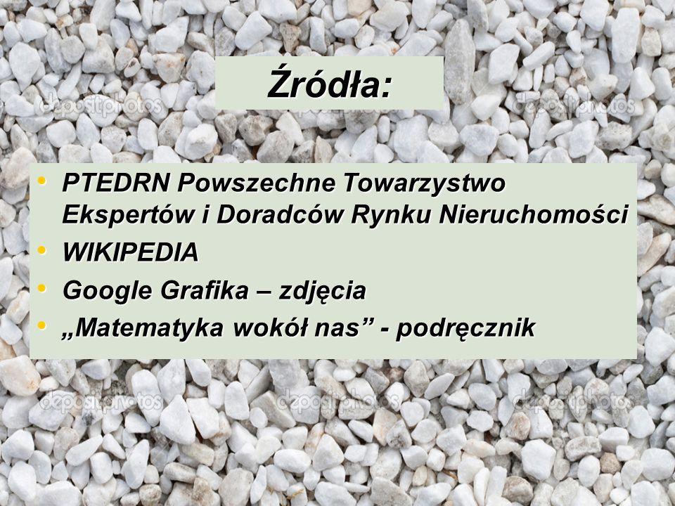 Źródła: PTEDRN Powszechne Towarzystwo Ekspertów i Doradców Rynku Nieruchomości. WIKIPEDIA. Google Grafika – zdjęcia.