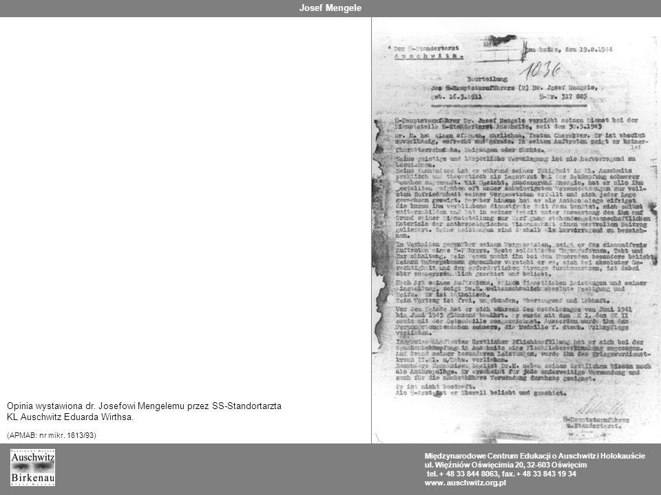 Opinia wystawiona dr. Josefowi Mengelemu przez SS-Standortarzta
