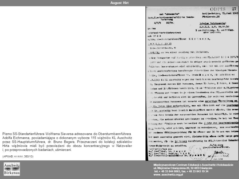 August Hirt Pismo SS-Standartenführera Wolframa Sieversa adresowane do Obersturmbannführera.