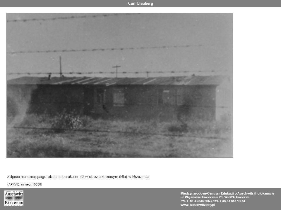 Carl Clauberg Zdjęcie nieistniejącego obecnie baraku nr 30 w obozie kobiecym (BIa) w Brzezince. (APMAB: nr neg. 10336)