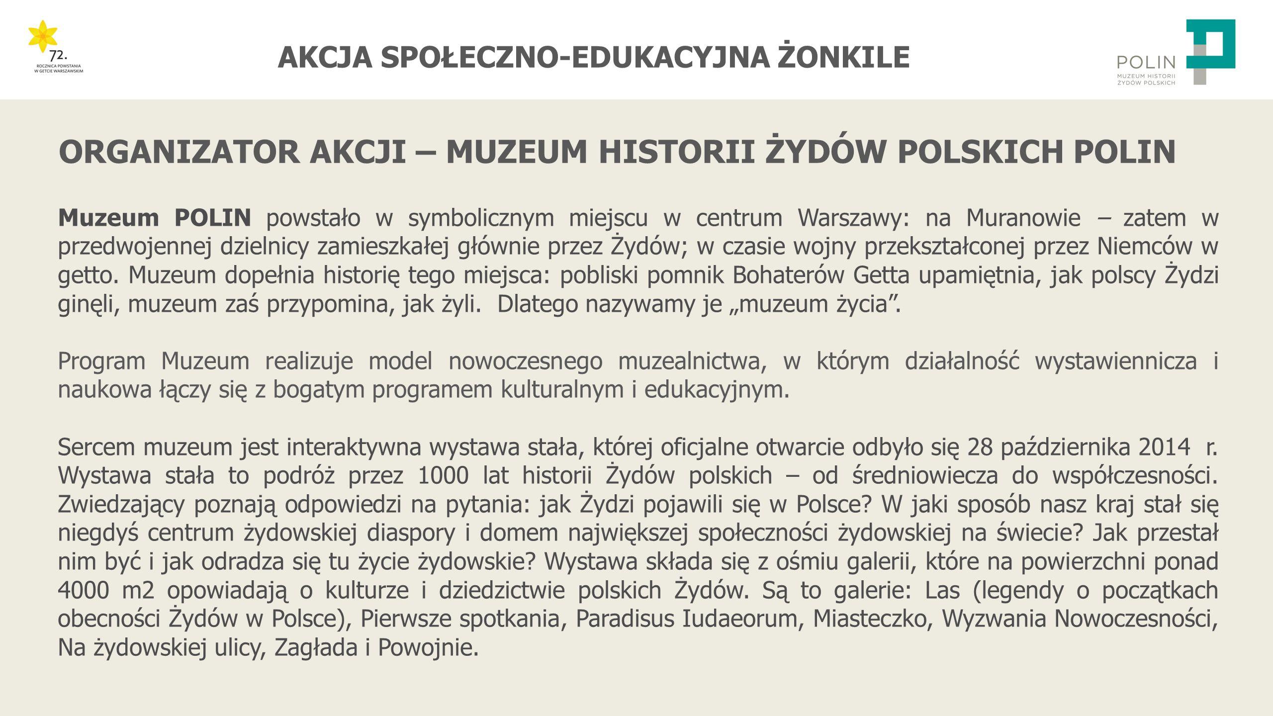 ORGANIZATOR AKCJI – MUZEUM HISTORII ŻYDÓW POLSKICH POLIN
