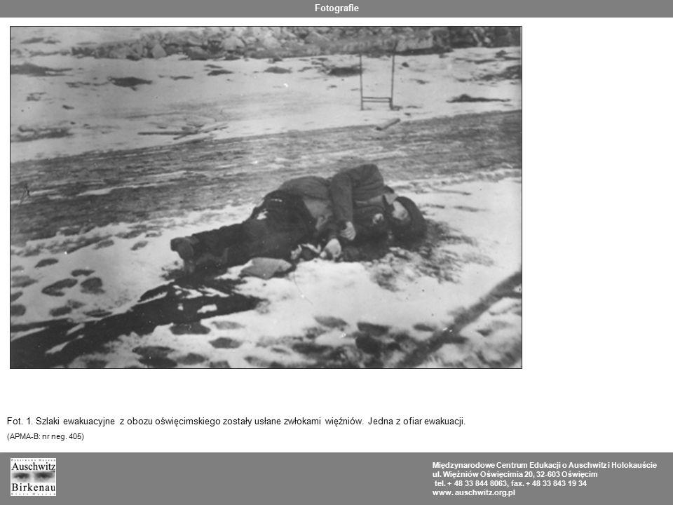 Fotografie Fot. 1. Szlaki ewakuacyjne z obozu oświęcimskiego zostały usłane zwłokami więźniów. Jedna z ofiar ewakuacji.