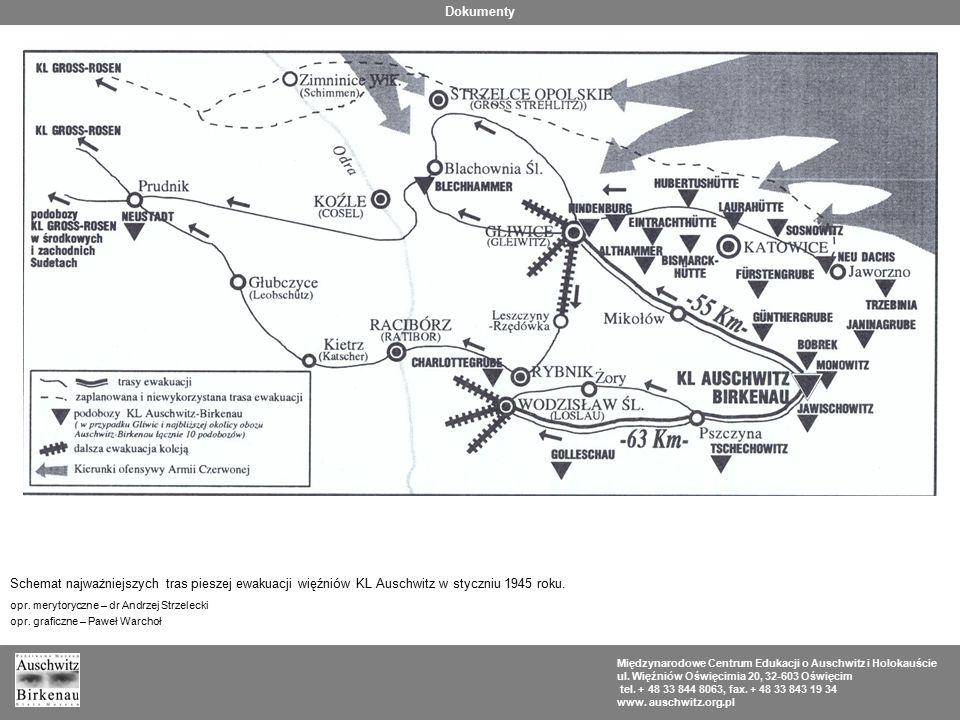 Dokumenty Schemat najważniejszych tras pieszej ewakuacji więźniów KL Auschwitz w styczniu 1945 roku.
