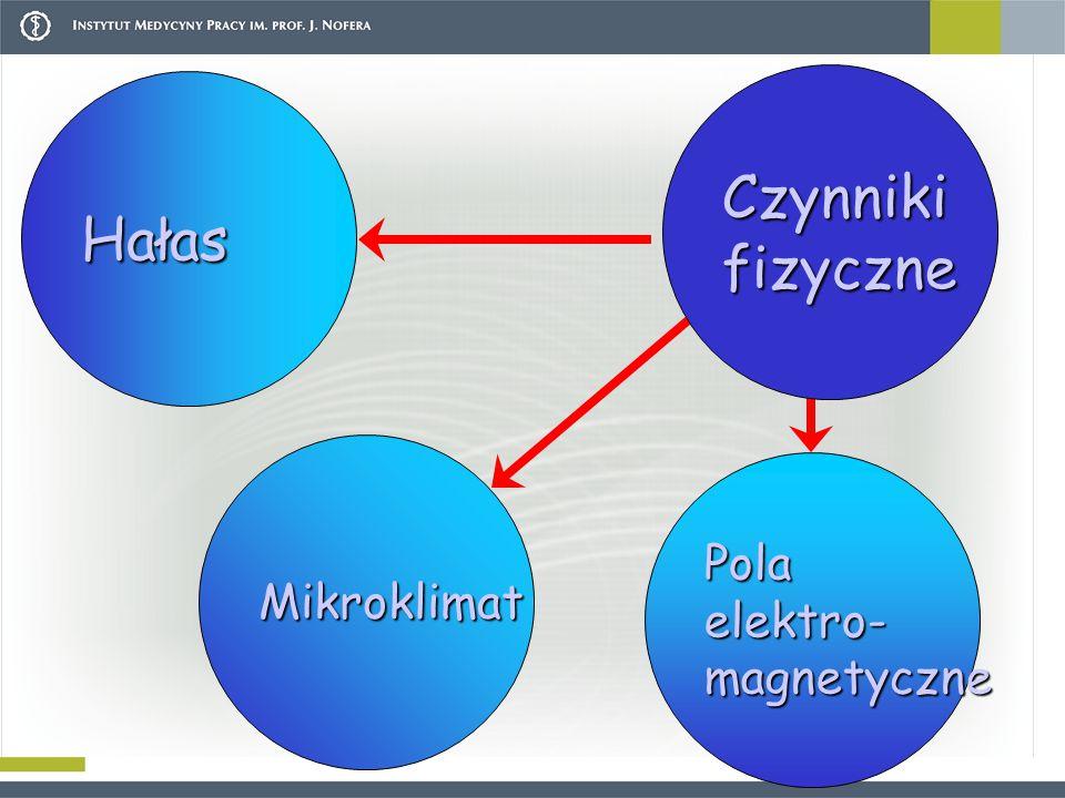 Czynniki fizyczne Hałas Mikroklimat Pola elektro- magnetyczne