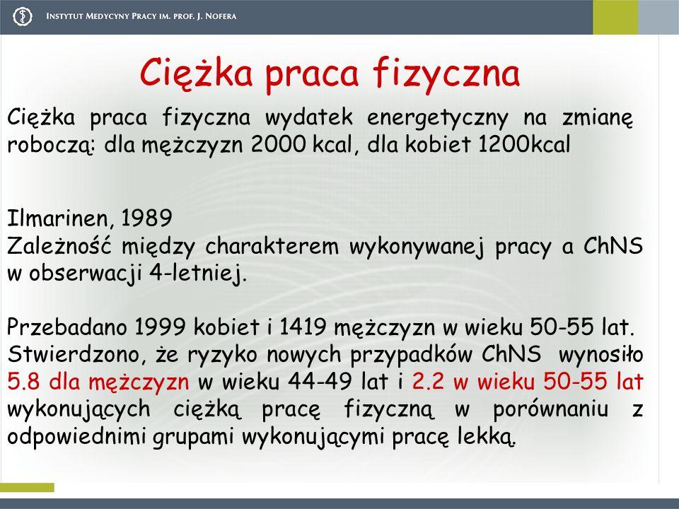Ciężka praca fizyczna Ciężka praca fizyczna wydatek energetyczny na zmianę roboczą: dla mężczyzn 2000 kcal, dla kobiet 1200kcal.