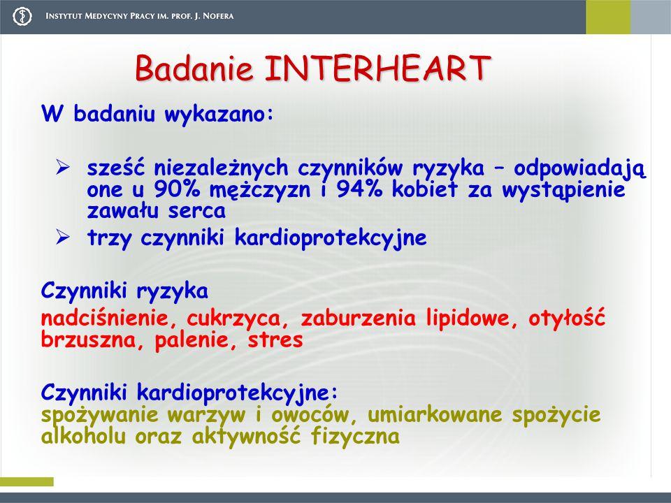 Badanie INTERHEART W badaniu wykazano: