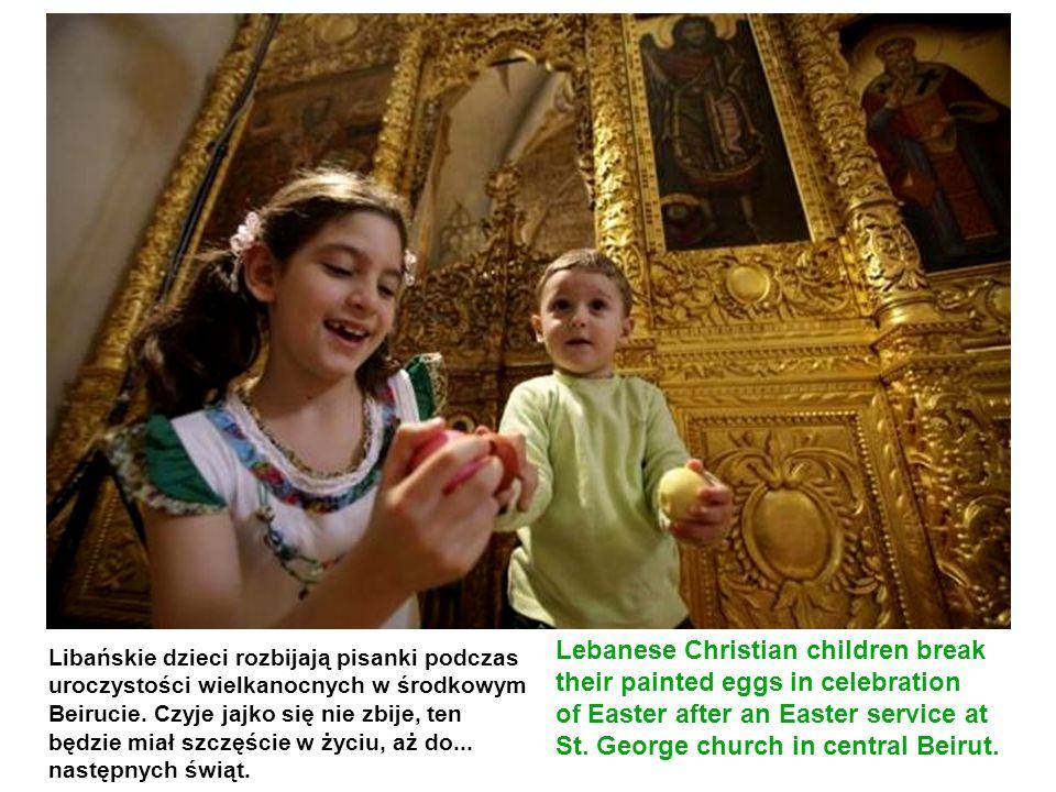 Lebanese Christian children break their painted eggs in celebration