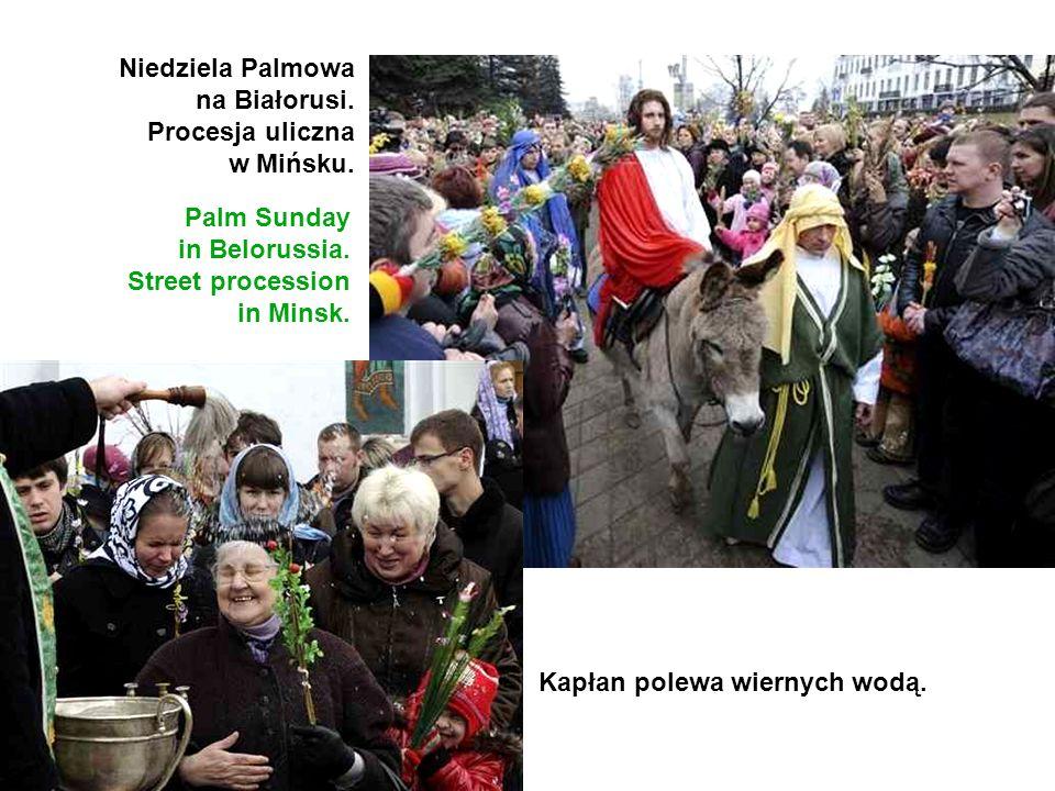 Niedziela Palmowa na Białorusi. Procesja uliczna. w Mińsku. Palm Sunday. in Belorussia. Street procession.