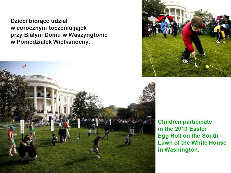 Dzieci biorące udział w corocznym toczeniu jajek przy Białym Domu w Waszyngtonie w Poniedziałek Wielkanocny.