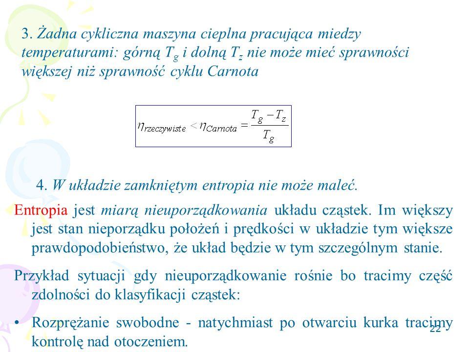 3. Żadna cykliczna maszyna cieplna pracująca miedzy temperaturami: górną Tg i dolną Tz nie może mieć sprawności większej niż sprawność cyklu Carnota