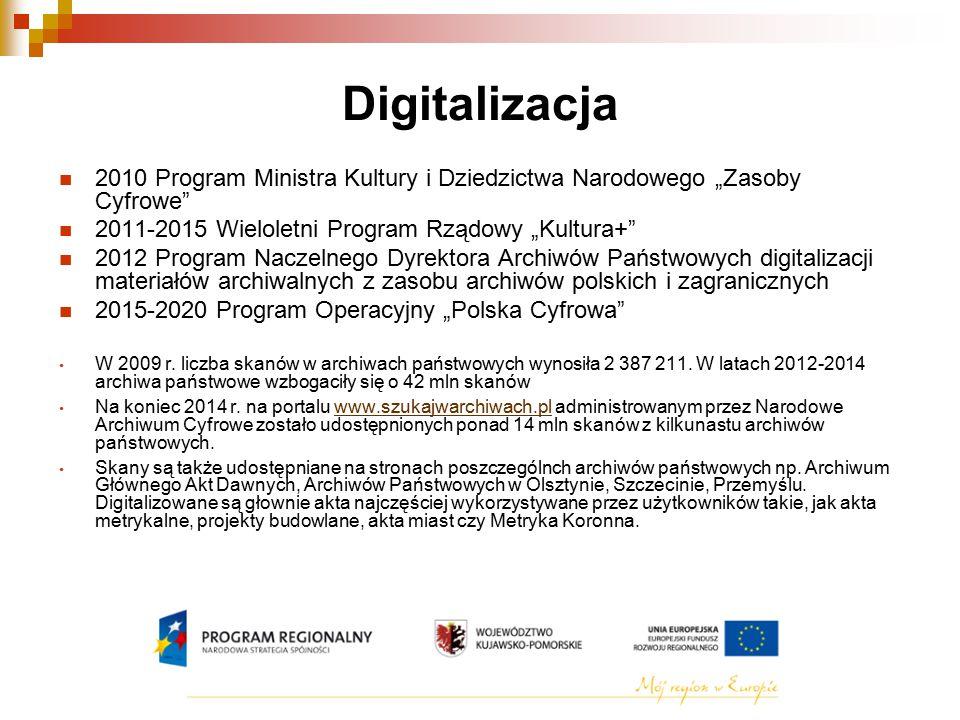 """Digitalizacja 2010 Program Ministra Kultury i Dziedzictwa Narodowego """"Zasoby Cyfrowe 2011-2015 Wieloletni Program Rządowy """"Kultura+"""