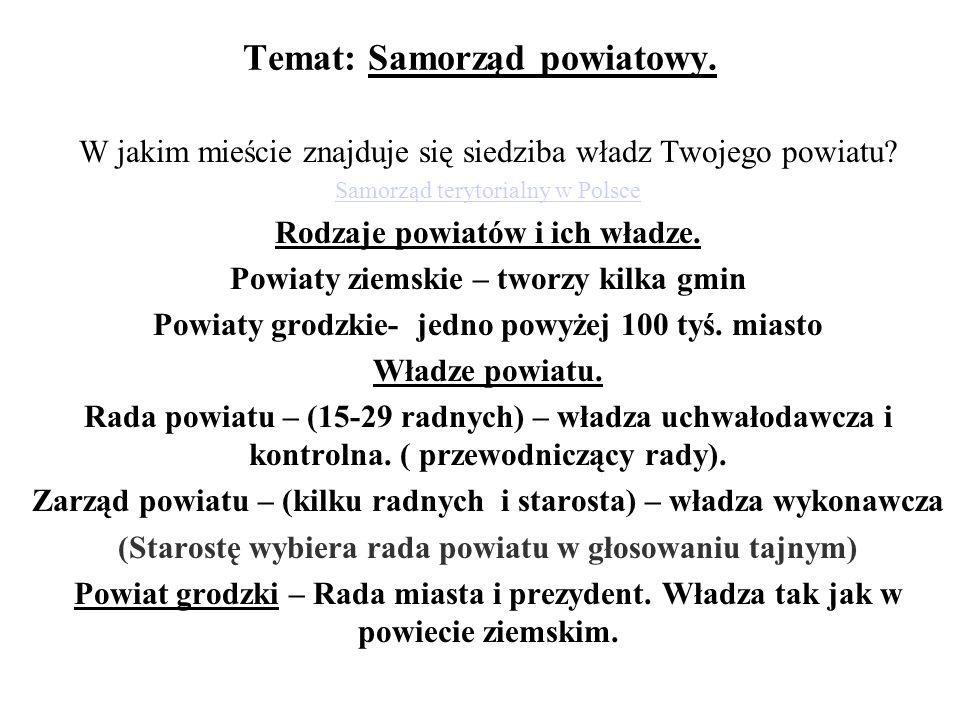 Temat: Samorząd powiatowy.