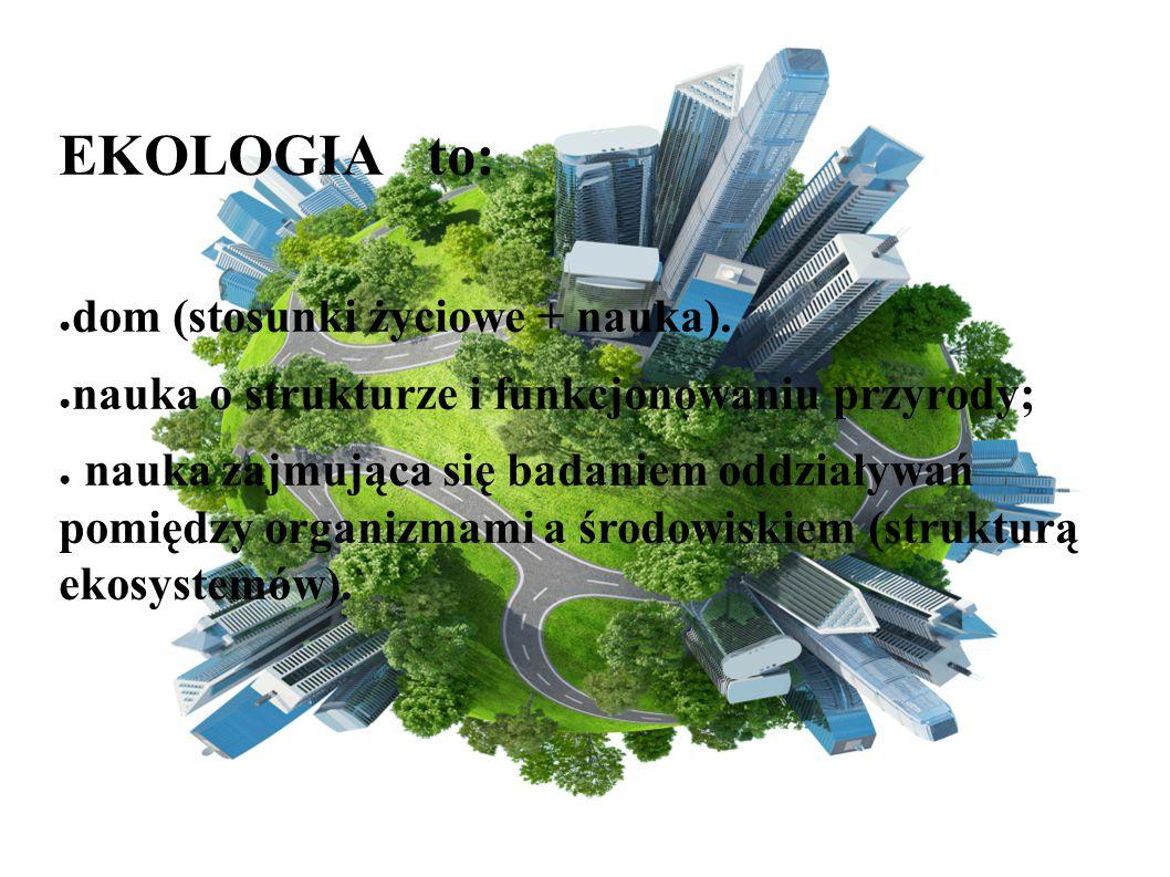 EKOLOGIA to: dom (stosunki życiowe + nauka).