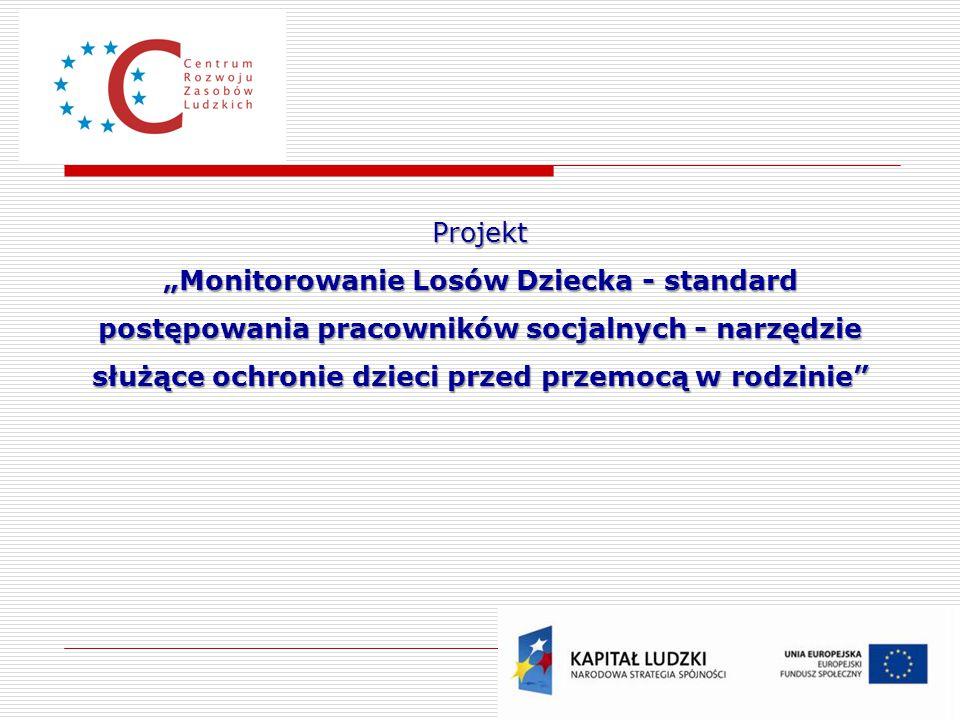 """Projekt """"Monitorowanie Losów Dziecka - standard postępowania pracowników socjalnych - narzędzie służące ochronie dzieci przed przemocą w rodzinie"""