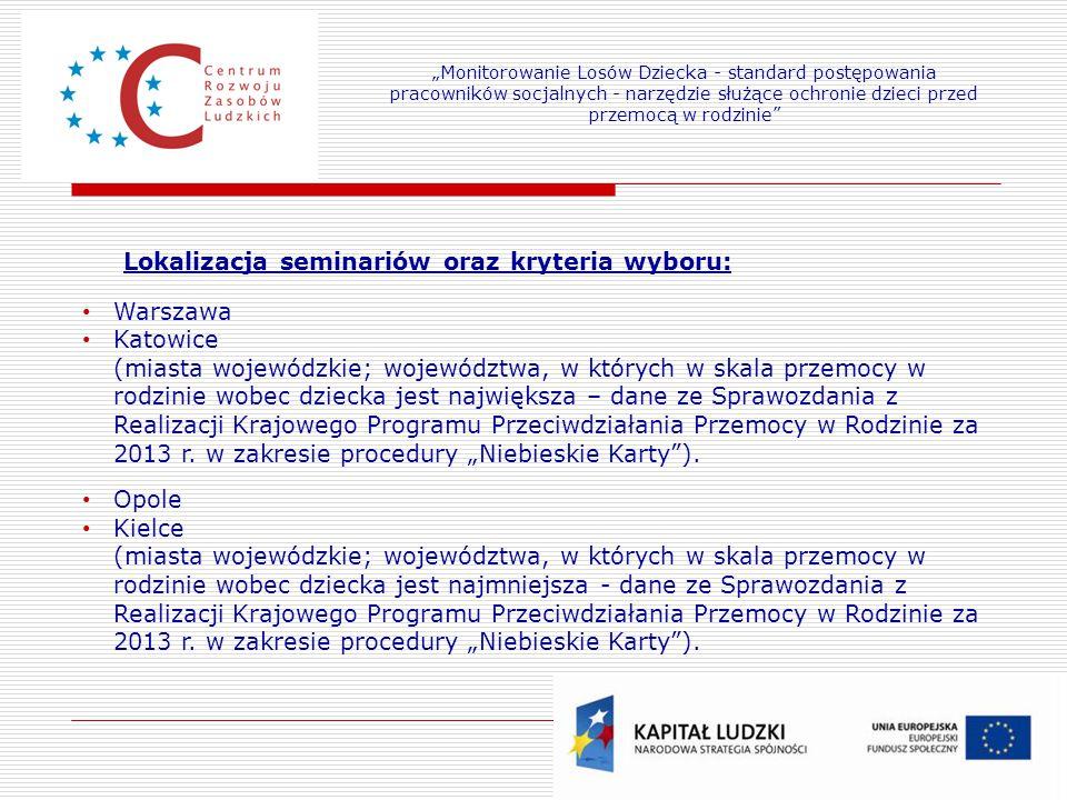 Lokalizacja seminariów oraz kryteria wyboru: Warszawa Katowice
