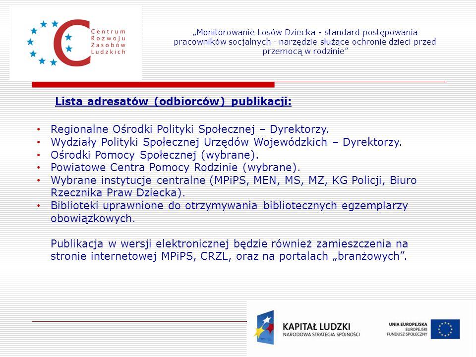 Lista adresatów (odbiorców) publikacji: