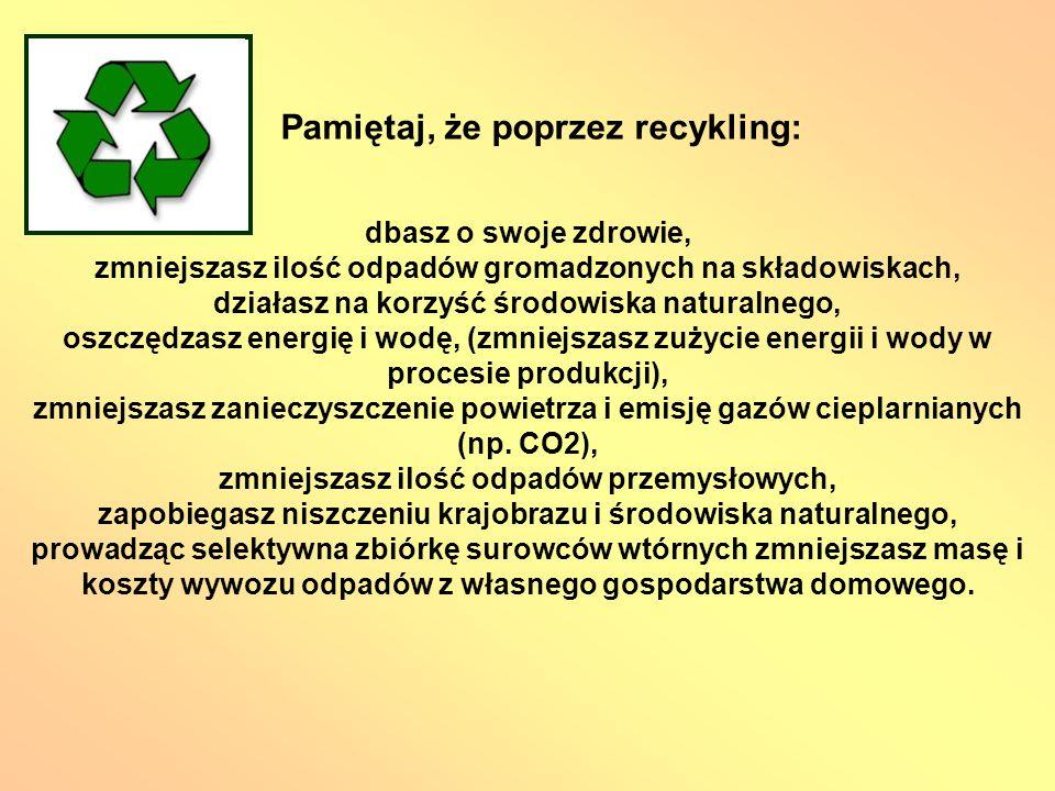 Pamiętaj, że poprzez recykling: